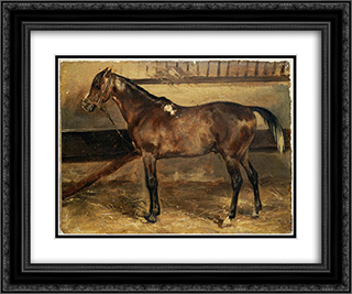 Brown Horse in the Stalls 24x20 Black or Gold Ornate Framed and Double Matted Art Print by Theodore Gericault