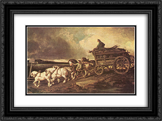 Coal cars 24x18 Black or Gold Ornate Framed and Double Matted Art Print by Theodore Gericault