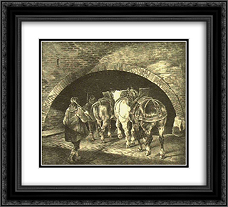 Entrance To The Adelphi Wharf 22x20 Black or Gold Ornate Framed and Double Matted Art Print by Theodore Gericault
