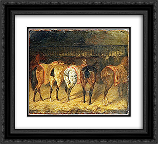 Five horses seen from behind with croupes in a stable 22x20 Black or Gold Ornate Framed and Double Matted Art Print by Theodore Gericault