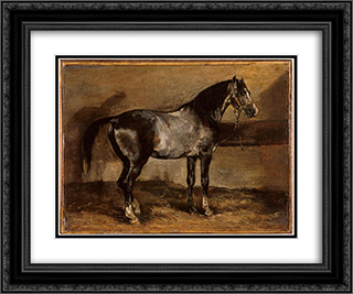 Gray horse rack 24x20 Black or Gold Ornate Framed and Double Matted Art Print by Theodore Gericault