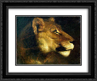 Head of lioness 24x20 Black or Gold Ornate Framed and Double Matted Art Print by Theodore Gericault