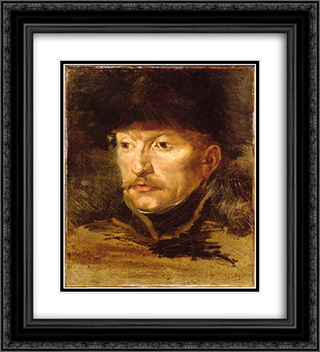 Head of a horseman 20x22 Black or Gold Ornate Framed and Double Matted Art Print by Theodore Gericault