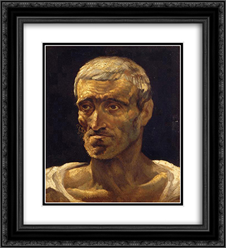 Head of a Shipwrecked Man (study for the Raft of Medusa) 20x22 Black or Gold Ornate Framed and Double Matted Art Print by Theodore Gericault
