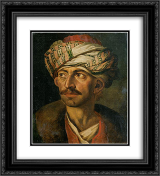 Head of an Oriental, or Portrait Presumed to be Mustapha 20x22 Black or Gold Ornate Framed and Double Matted Art Print by Theodore Gericault