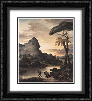 Heroic Landscape with Fishermen 20x22 Black or Gold Ornate Framed and Double Matted Art Print by Theodore Gericault