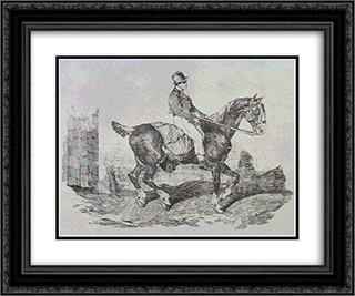 Horse carriage 24x20 Black or Gold Ornate Framed and Double Matted Art Print by Theodore Gericault