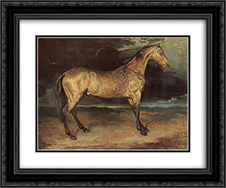 Horse in the storm 24x20 Black or Gold Ornate Framed and Double Matted Art Print by Theodore Gericault