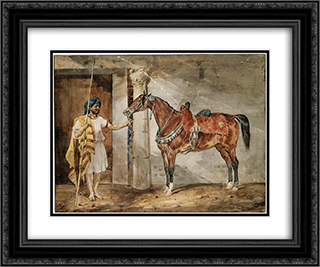 Horse (Eastern) 24x20 Black or Gold Ornate Framed and Double Matted Art Print by Theodore Gericault