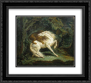 Horse attacked by a lion 22x20 Black or Gold Ornate Framed and Double Matted Art Print by Theodore Gericault
