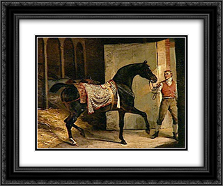 Horse leaving a Stable 24x20 Black or Gold Ornate Framed and Double Matted Art Print by Theodore Gericault