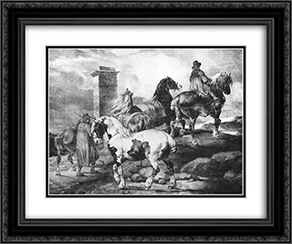 Horses 24x20 Black or Gold Ornate Framed and Double Matted Art Print by Theodore Gericault