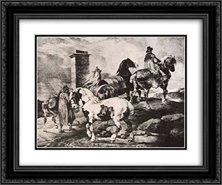 Horses going to a fair  24x20 Black or Gold Ornate Framed and Double Matted Art Print by Theodore Gericault