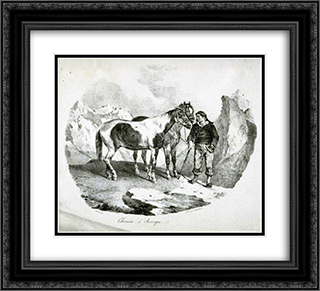 Horses of the Auvergne 22x20 Black or Gold Ornate Framed and Double Matted Art Print by Theodore Gericault