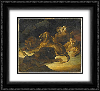Lying Lions 22x20 Black or Gold Ornate Framed and Double Matted Art Print by Theodore Gericault