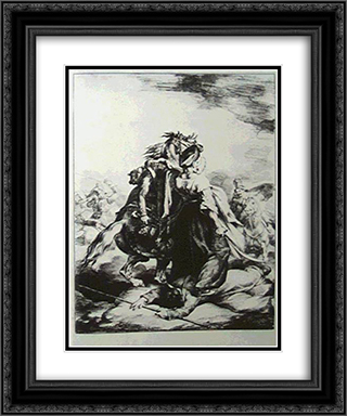Mameluke defending wounded trumpete  20x24 Black or Gold Ornate Framed and Double Matted Art Print by Theodore Gericault