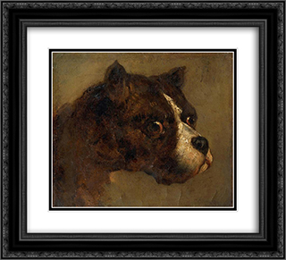 The head of bulldog 22x20 Black or Gold Ornate Framed and Double Matted Art Print by Theodore Gericault