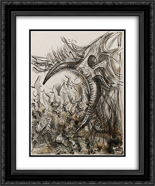 Untitled 20x24 Black or Gold Ornate Framed and Double Matted Art Print by Theodore Roszak