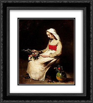 A Girl Arranging a Vase of Flowers 20x22 Black or Gold Ornate Framed and Double Matted Art Print by Theodule Ribot