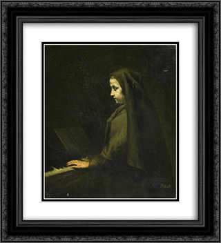 A Woman at the Piano 20x22 Black or Gold Ornate Framed and Double Matted Art Print by Theodule Ribot