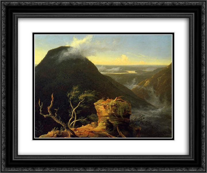 Sunny Morning on the Hudson River 24x20 Black or Gold Ornate Framed and Double Matted Art Print by Thomas Cole