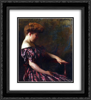 A Flowered Gown 20x22 Black or Gold Ornate Framed and Double Matted Art Print by Thomas Pollock Anshutz