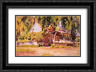 A summer house 24x18 Black or Gold Ornate Framed and Double Matted Art Print by Thomas Pollock Anshutz