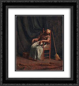 Aunt Hannah 20x22 Black or Gold Ornate Framed and Double Matted Art Print by Thomas Pollock Anshutz