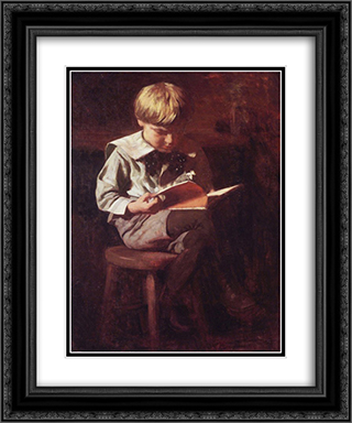 Boy Reading Ned Anshutz 20x24 Black or Gold Ornate Framed and Double Matted Art Print by Thomas Pollock Anshutz