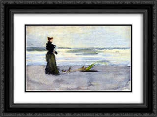 Edwardian woman on the Beach 24x18 Black or Gold Ornate Framed and Double Matted Art Print by Thomas Pollock Anshutz