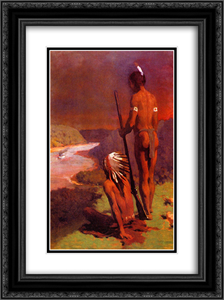 Indians on the Ohio 18x24 Black or Gold Ornate Framed and Double Matted Art Print by Thomas Pollock Anshutz