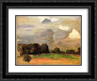 Landscape with grey sky 24x20 Black or Gold Ornate Framed and Double Matted Art Print by Thomas Pollock Anshutz