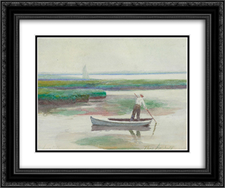 Low Tide 24x20 Black or Gold Ornate Framed and Double Matted Art Print by Thomas Pollock Anshutz