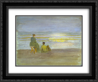 Man and Woman on the Beach 24x20 Black or Gold Ornate Framed and Double Matted Art Print by Thomas Pollock Anshutz