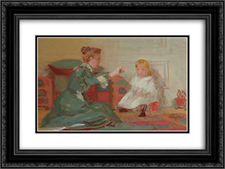 Mother and Child 24x18 Black or Gold Ornate Framed and Double Matted Art Print by Thomas Pollock Anshutz