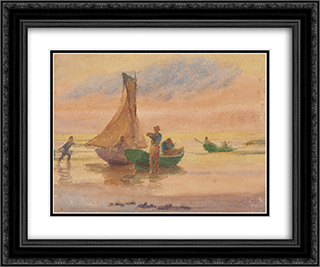 Sunset Glow (recto) 24x20 Black or Gold Ornate Framed and Double Matted Art Print by Thomas Pollock Anshutz