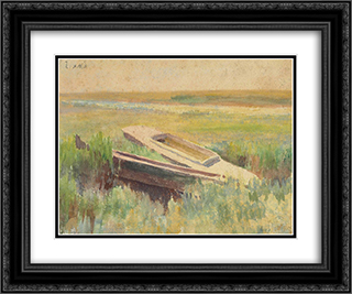 Sunset Glow (verso) 24x20 Black or Gold Ornate Framed and Double Matted Art Print by Thomas Pollock Anshutz