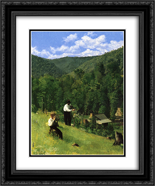 The Farmer and His Son at Harvesting 20x24 Black or Gold Ornate Framed and Double Matted Art Print by Thomas Pollock Anshutz