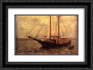 The Lumber Boat 24x18 Black or Gold Ornate Framed and Double Matted Art Print by Thomas Pollock Anshutz