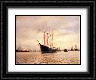 The Visit of the Beggar and her Child On the Delaware at Tacony 24x20 Black or Gold Ornate Framed and Double Matted Art Print by Thomas Pollock Anshutz