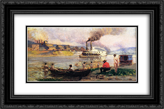 The Visit of the Beggar and her Child Steamboat on the Ohio 24x16 Black or Gold Ornate Framed and Double Matted Art Print by Thomas Pollock Anshutz