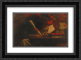 Woman in an interior, reading 24x18 Black or Gold Ornate Framed and Double Matted Art Print by Thomas Pollock Anshutz