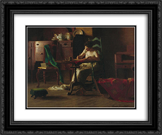 Woman writting on a table 24x20 Black or Gold Ornate Framed and Double Matted Art Print by Thomas Pollock Anshutz