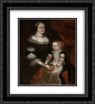 Mrs. Richard Patteshall (Martha Woody) and child 20x22 Black or Gold Ornate Framed and Double Matted Art Print by Thomas Smith