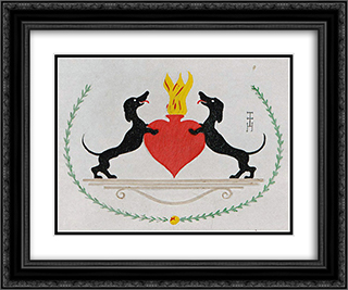 The Two Dachshunds 24x20 Black or Gold Ornate Framed and Double Matted Art Print by Thomas Theodor Heine