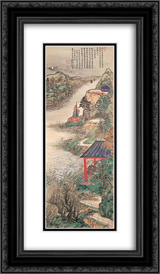Abe-no-Nakamaro Writing Nostalgic Poem While Moon-viewing 14x24 Black or Gold Ornate Framed and Double Matted Art Print by Tomioka Tessai