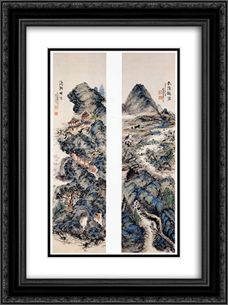 Earthly paradise and sacred mountains 18x24 Black or Gold Ornate Framed and Double Matted Art Print by Tomioka Tessai