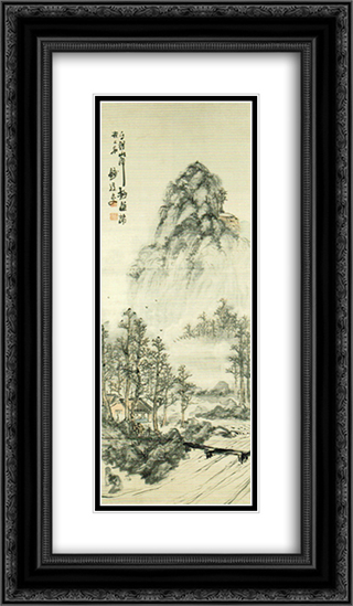 Landscape 14x24 Black or Gold Ornate Framed and Double Matted Art Print by Tomioka Tessai