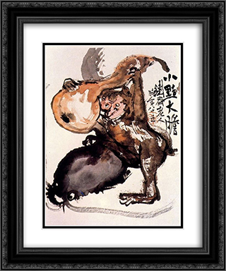 Monkey 20x24 Black or Gold Ornate Framed and Double Matted Art Print by Tomioka Tessai