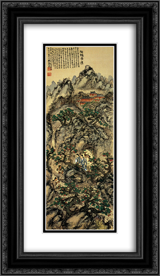 Tomioka Tessai Encountering with Immortal Women 14x24 Black or Gold Ornate Framed and Double Matted Art Print by Tomioka Tessai